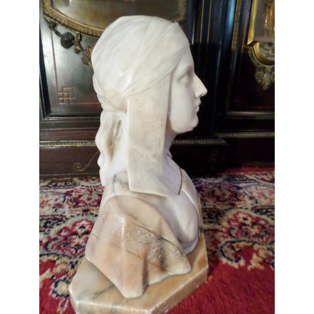 Italian Antique Italian Alabaster Bust of Woman For Sale - Image 3 of 13