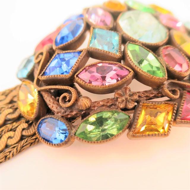 Czech Art Deco Jewel-Tone Bohemian Crystal & Chains Bracelet 1920s For Sale In Los Angeles - Image 6 of 13