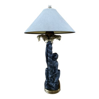 Vintage Chapman Monkey and Brass Palm Tree Lamp and Shade For Sale