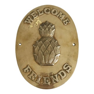 Brass Pineapple Welcome Plaque For Sale