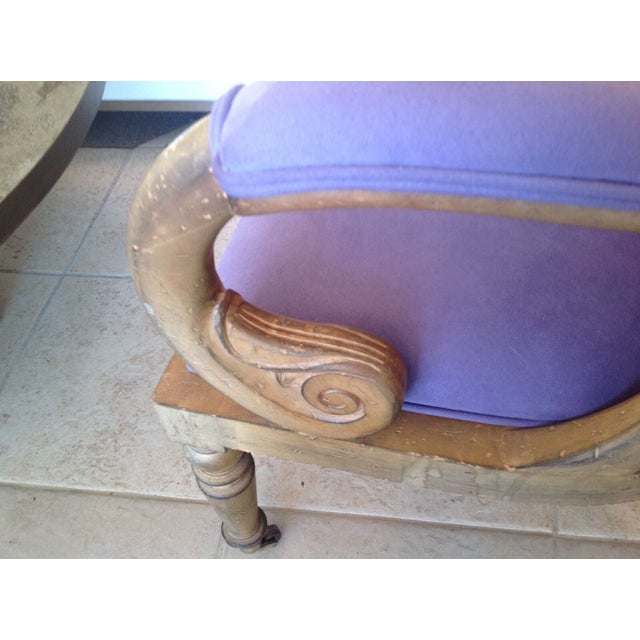"""Italian scroll desk chair with new lush lilac fabric. Mid century modern measures 24"""" wide, 27"""" long and 34"""" high."""