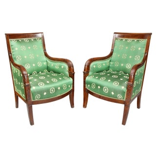 French Empire Mahogany Bergère Chairs - a Pair For Sale