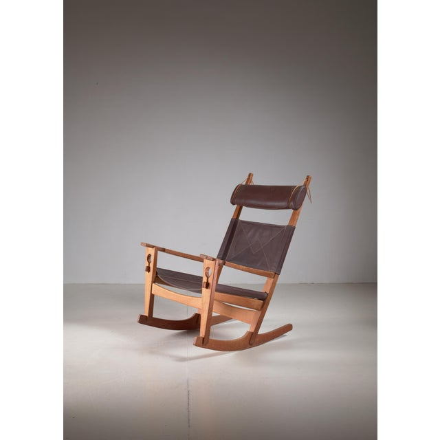 Animal Skin Hans Wegner Key Hole Rocking Chair in Original Brown Leather For Sale - Image 7 of 7