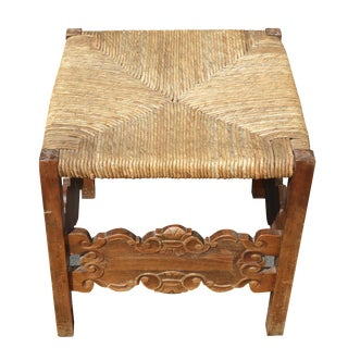 Spanish Style Carved Rush Seat Stool For Sale