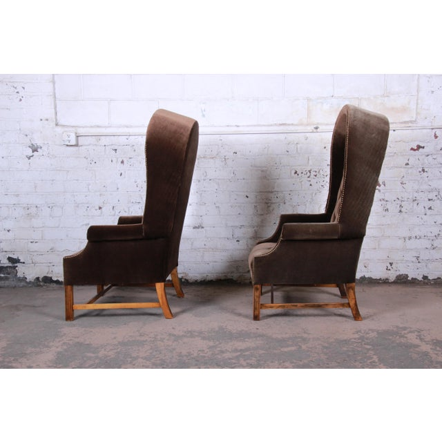 Mid-Century Brown Velvet Porter's Chairs - a Pair For Sale In South Bend - Image 6 of 12