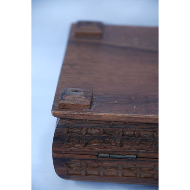 Wood Vintage Carved Wooden Footed Jewelry Box For Sale - Image 7 of 10