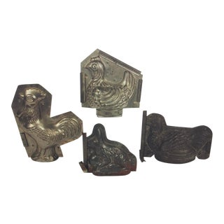 Figural Metal Chocolate Molds - Set of 4 For Sale