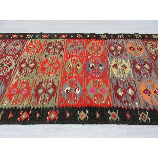 "Vintage Colorful Turkish Kilim Rug - 5'2"" X 10'4"" For Sale - Image 4 of 6"