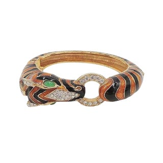 1980s Ciner Enameled Zebra Cuff Bracelet For Sale