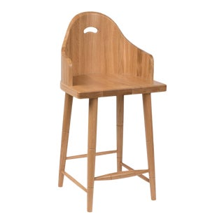 Scooped Back Counter Stool in Natural Oak For Sale