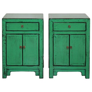 Modern Asian Green Side Chests - a Pair For Sale