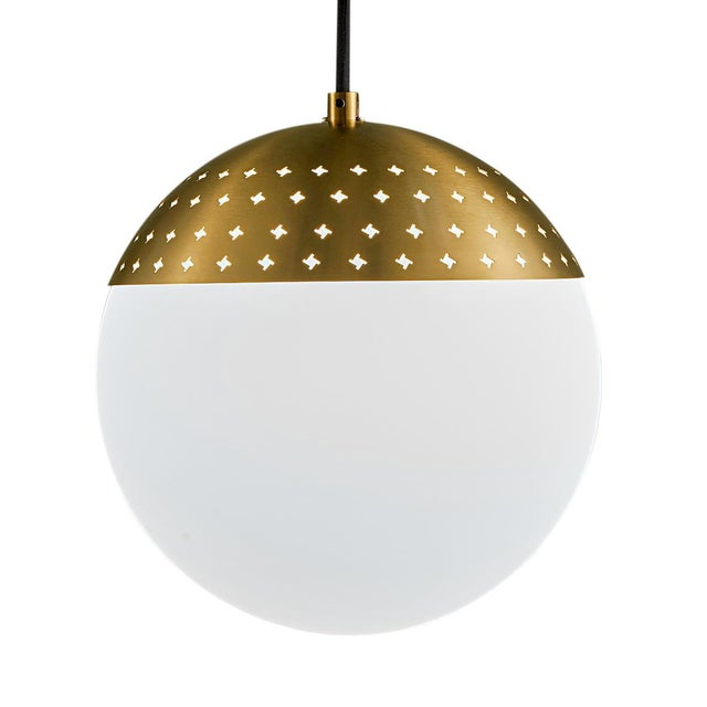 Mid-Century Modern Brushed Brass Opal Globe Light For Sale - Image 3 of 3