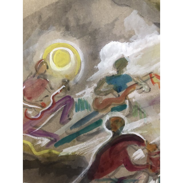 Figurative Charles W. Palmer Gouache Musicians Painting, C. 1947 For Sale - Image 3 of 6