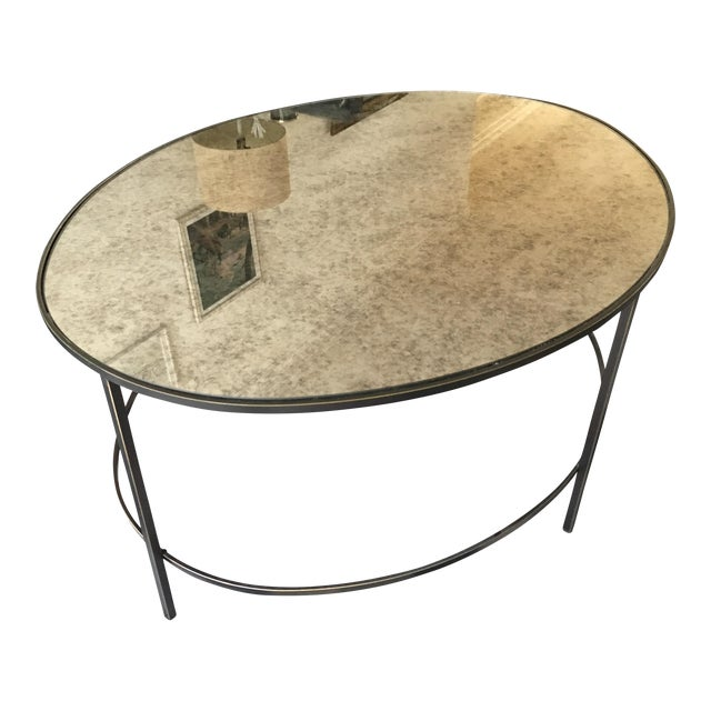 West Elm Foxed Mirror Oval Coffee Table Chairish - West elm geometric coffee table