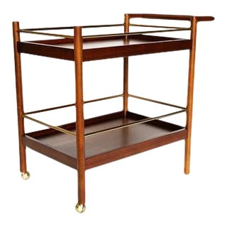 Mid Century Walnut and Brass Bar Cart For Sale