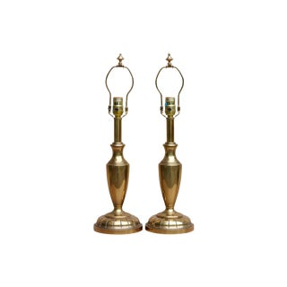 Stiffel French Empire Style Brass Table Lamps, a Pair For Sale