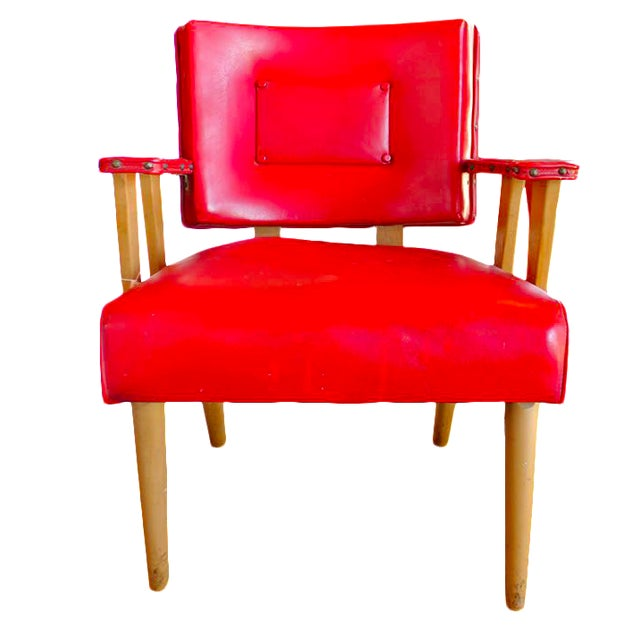 Mid-Century Modern Red Arm Chair - Image 1 of 4