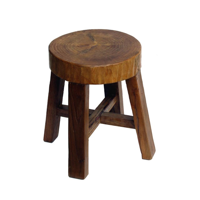 Chinese Rustic Bold Wood Round Stool - Image 2 of 5
