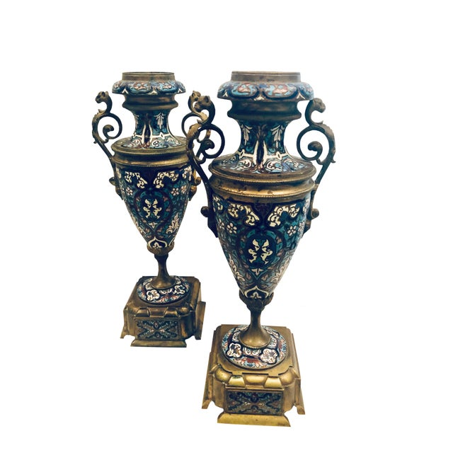 19th Century French Champleve Vases- a Pair For Sale - Image 10 of 10