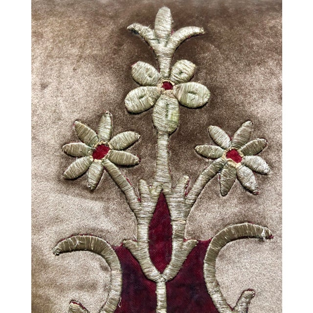 19th Century Metallic Silver Wire Floral Embroidery Brown Velvet Pillow For Sale - Image 4 of 13
