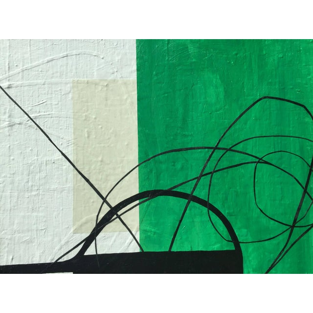 Abstract Maura Segal Grasshopper Green Mid Century Modern Style 2016 For Sale - Image 3 of 6