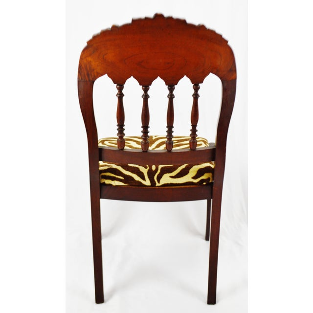 Early 20th Century Vintage Victorian Style Side Chair With Animal Print Cushion For Sale - Image 5 of 13
