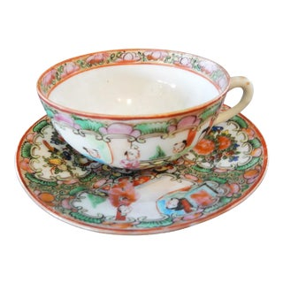 Antique Rose Medallion Chinese Porcelain Tea Cup & Saucer For Sale