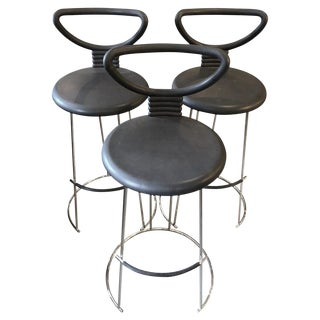 Late 20th Century Vintage Open-Back Bar Stools- Set of 3 For Sale