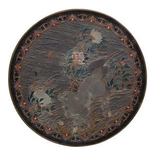 19th Century Antique Japanese Brass Cloisonne Decorative Platter For Sale