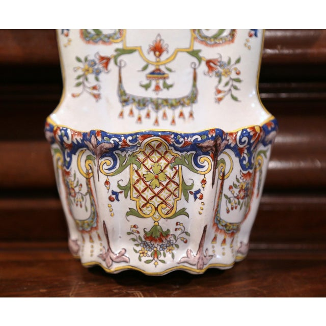 19th Century French Hand Painted Wall Hanging Flower Holder from Rouen For Sale - Image 4 of 9