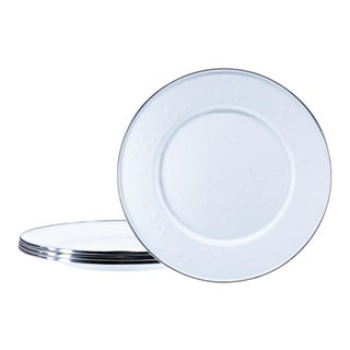 Sandwich Plates White on White - Set of 4 For Sale