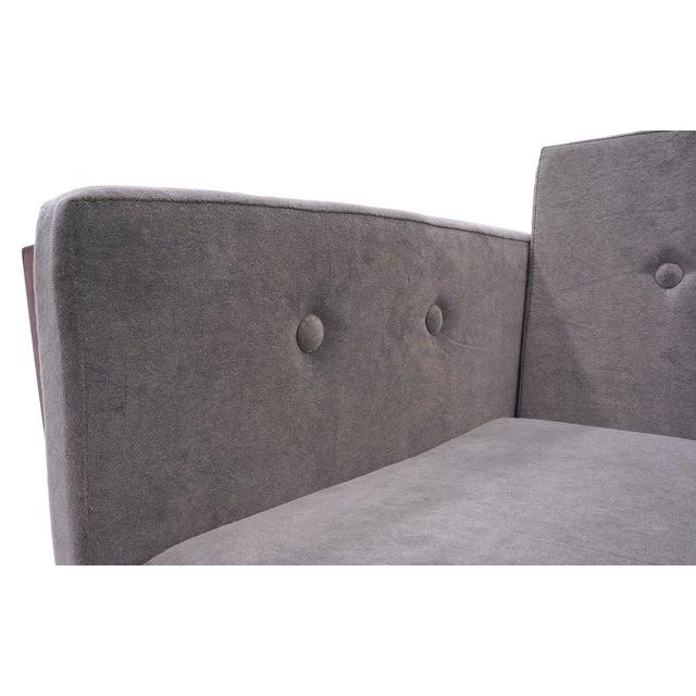 Danish Modern Rosewood Case Sofa by Jydsk Møbelværk, Gray Velvet Upholstery For Sale In Kansas City - Image 6 of 8