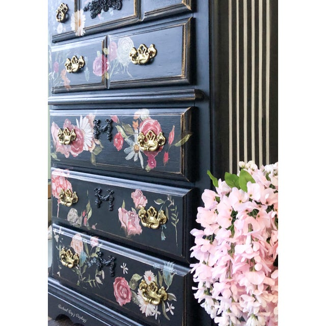 Contemporary Tall Midnight Floral Storage Dresser Chest With Pinstriped Siding and Faux Marbleized Top For Sale - Image 3 of 12