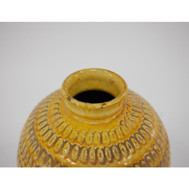 """Very Large Stoneware Vase With Impressed Decoration to Body, Yellow and Brown Glaze, 1930s-1940s. 15.5"""" High 10"""" at It's..."""