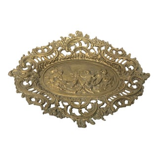 Baroque Cast Iron Figural Footed Tray For Sale