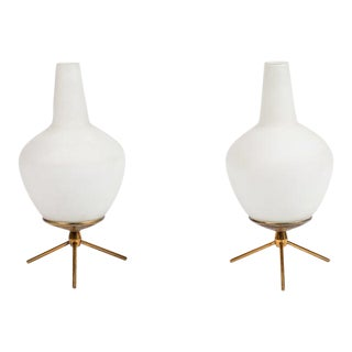 1950s Glass & Brass Tripod Table Lamps Attributed to Stilnovo - a Pair For Sale