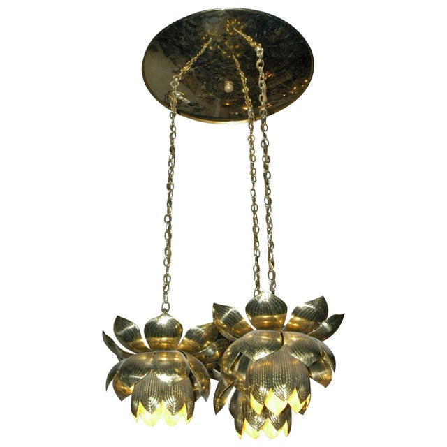 Brass 1960s Feldman Lighting Co. Mid-Century Lotus Pendant Chandelier For Sale - Image 8 of 8