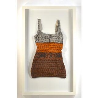 Framed Vintage Brown, Orange, & Gray Swim Suit