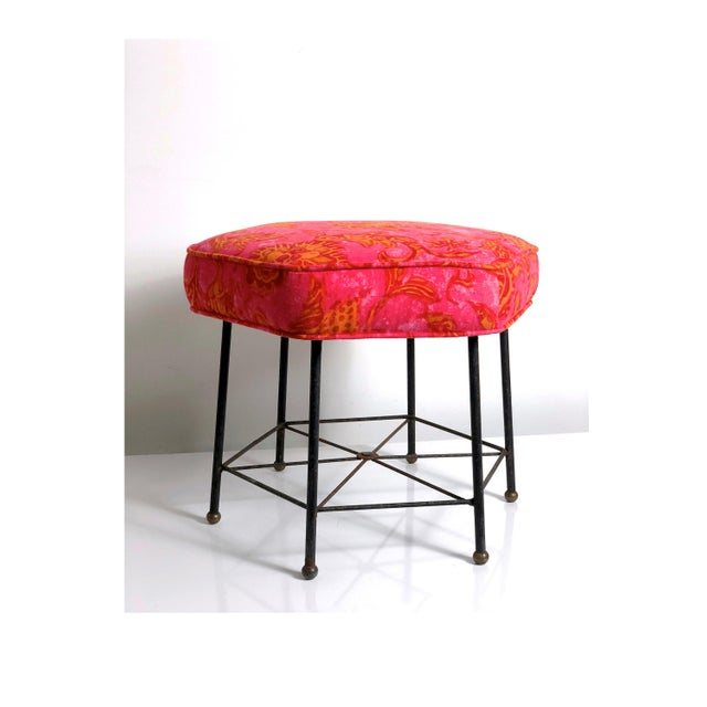 Crazy awesome footstool circa 1950's. Hexagonal design features unique iron base with brass ball feet, newly upholstered...
