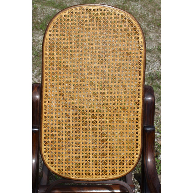 1970s Vintage Rattan Rocking Chair For Sale - Image 5 of 9