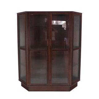 Trapezoid Shape Danish Modern Rosewood China Curio Cabinet For Sale