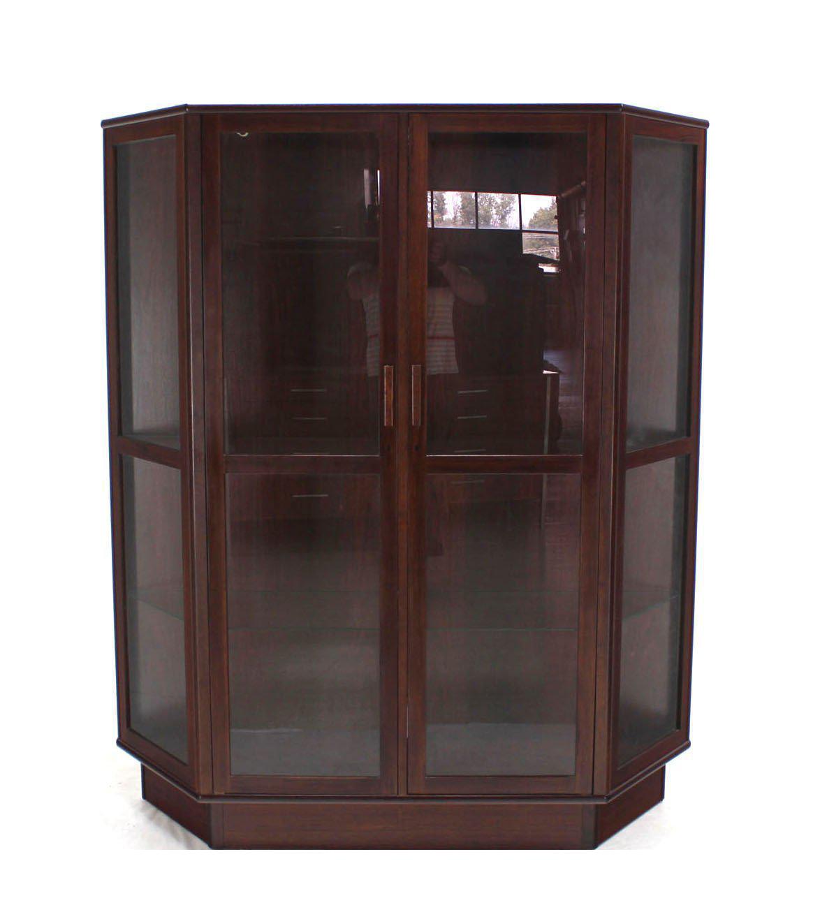 Trapezoid Shape Danish Modern Rosewood China Curio Cabinet