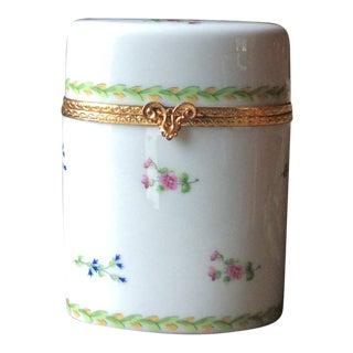 Vintage Limoges French Porcelain Cylinder Hinged Box For Sale