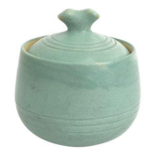 Mid Century Blue Pottery Container For Sale