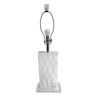 Vintage Van Teal Carved Lucite Table Lamp For Sale