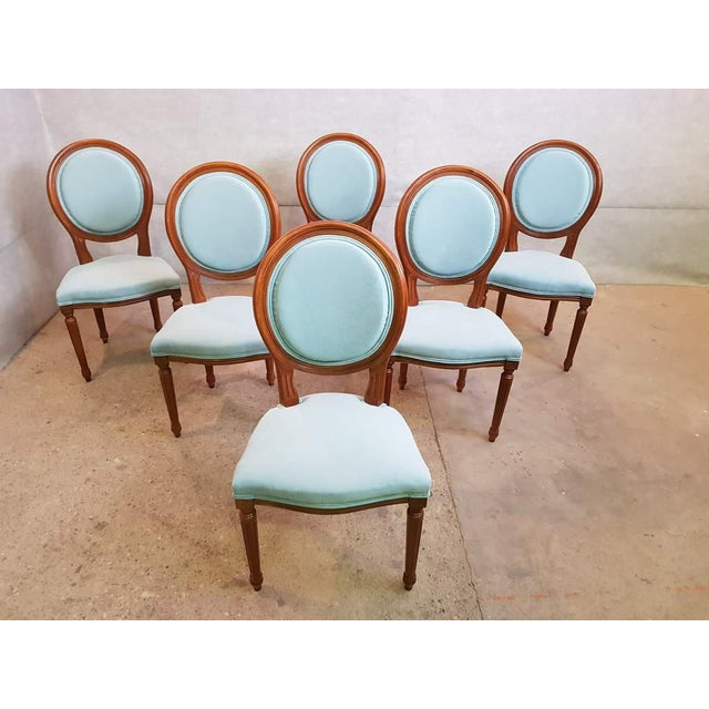 Set of 6 Vintage French Reupholstered Blue Turquoise Louis XVI Medallion Dining Chairs For Sale - Image 13 of 13