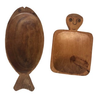 Vintage Hand Carved Chilean Wood Bowls- a Pair For Sale