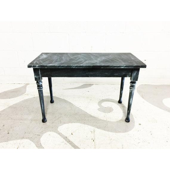 Vintage Turquoise and Black Distressed Bench - Image 2 of 6