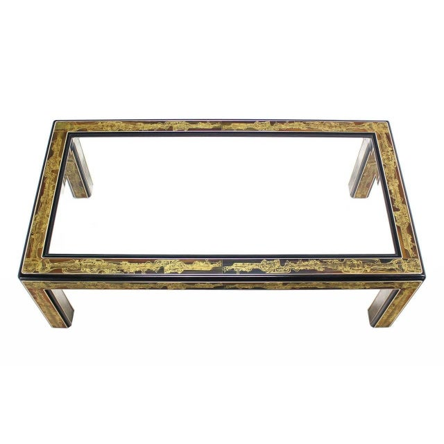 Acid-Etched Brass Coffee Table by Bernhard Rohne for Mastercraft For Sale - Image 9 of 10