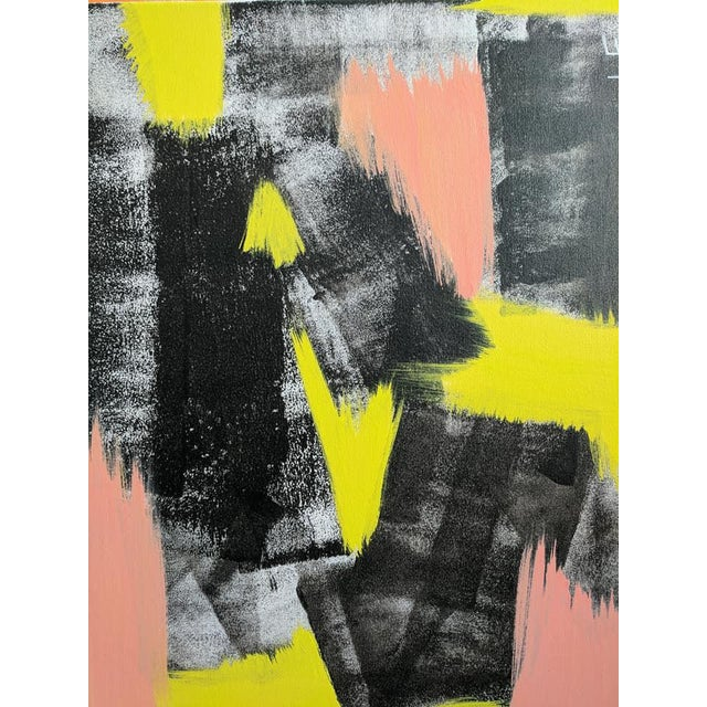 Original Abstract Neon Lime Salmon Pink and Black Painting For Sale - Image 12 of 13